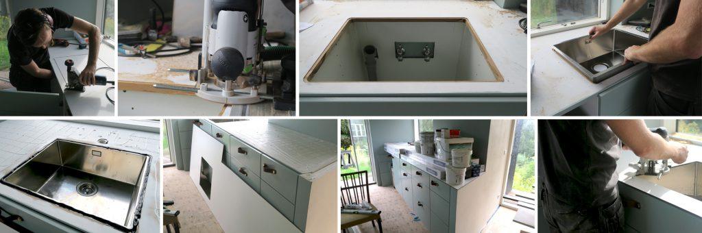 montering af en almindelig vask til en underlimet vask
